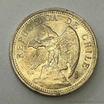 Scarce 1927 Chile 5 Pesos 900 Silver Coin About Uncirculated Condition