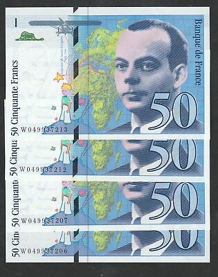 50 Francs From France 4 Pcs Unc