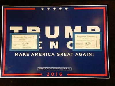 Trump Campaign Sign W 1 2017 Presidential Inauguration Ceremony Ticket & Extras