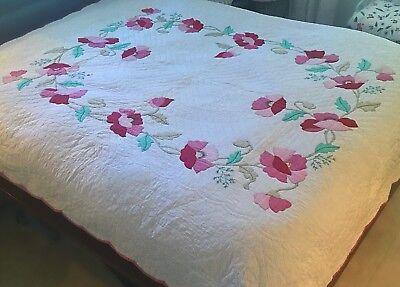 1930s Poppy Appliqué Quilt, Marie Webster Hand Quilted Double, Antique Vintage