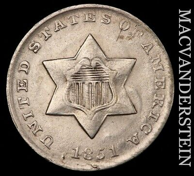 1851 Three Cent Silver - Uncirculated!!  Lustrous!!  Better Date!!  #h4564