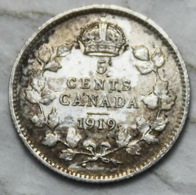 Canada 1919 Sterling Silver 5 Cents, Old Date KGV