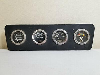 Vintage STEWART-WARNER 4 GAUGE CLUSTER, AMPS, OIL PRES,TEMP, VACUUM inches
