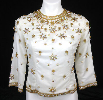 Vintage 50s 60s Shantung Silk White Gold Beaded Evening Top Cocktail Blouse S