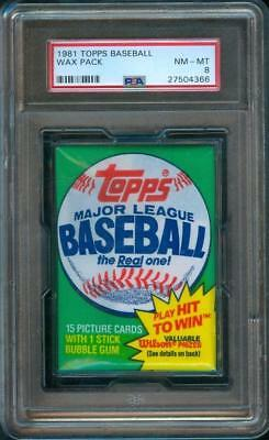 1981 Topps BASEBALL CARD Original Unopened Trading Card Wax Pack PSA 8