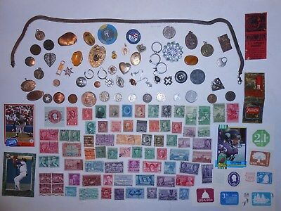 JUNK DRAWER LOT_Jewelry, U.S.A.COINS, 1926-D Mercury Dime, STAMPS, 1958 Dime OLD
