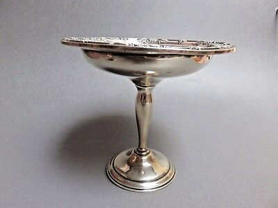 "6"" tall Weighted RAISED  Compote International   Wild Rose Sterling,1948, T198"