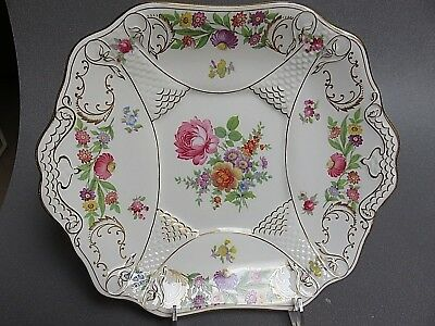 "Hammersley Dresden Sprays Handled Cake  Plate 8 1/2"" X 10"" Rare Fish Scale"