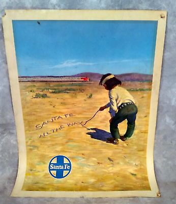 Original Santa Fe Railroad Travel Poster SF All The Way Indian Boy 18x24 Vintage