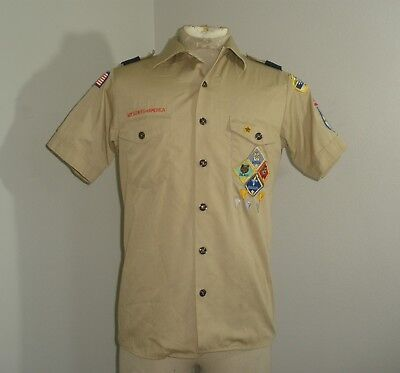 Mens BSA Boy Scouts of America Short Sleeve Shirt USA MADE SMALL Khaki