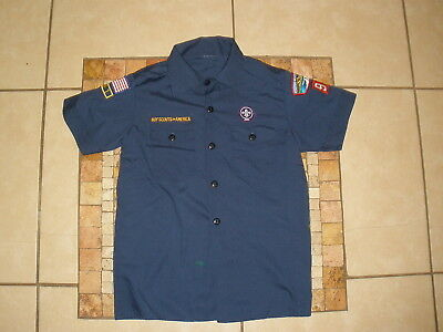 Youth Boys BSA Boy Cub Scouts of America short sleeve Navy Shirt Medium