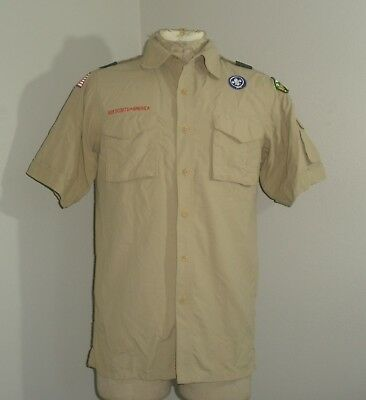 Adult Mens BSA Boy Scouts of America short sleeve SLEEVE POCKET Khaki Shirt S