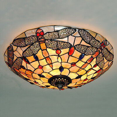 Vintage Tiffany Style Stained Glass Dragonfly Flush Mount Ceiling Light Fixture