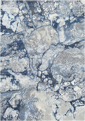 Williston Forge Candelaria Abstract Bright Blue Navy Area Rug