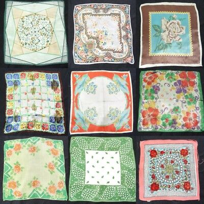 Vintage 1930s 1950s Printed Floral Handkerchief Hanky Brightly Coloured Flowers