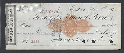 "1873 ""Howard"" Boston Bank Check ""Steam Packet"" RN-D1"