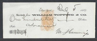 1867 William Topping Receipt New York City RN-B1
