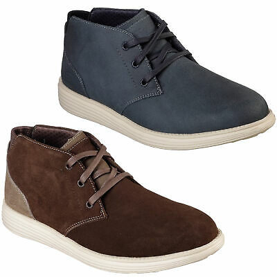Mens Skechers Status-Rolano Memory Foam Smart Leather Ankle Boots Sizes 7 to 11