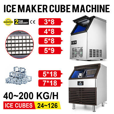40~200 KG/24H Commercial Ice Cubes Machine Ice Cubes Insulation Restaurants