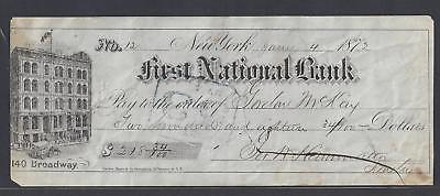 "1872 New York City Bank Check ""Bank"""