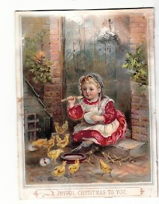 A Joyful Christmas to You Girl Eating from Bowl Chicks Vict Card c 1880s