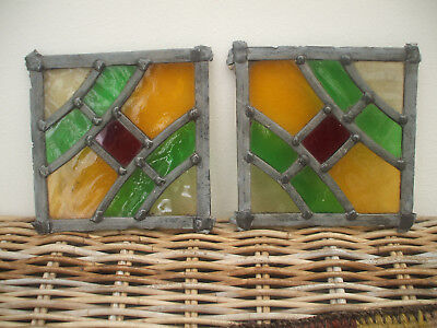 Pair Leaded Stain Glass Window Panels (Probably From A Larger Window) Church?