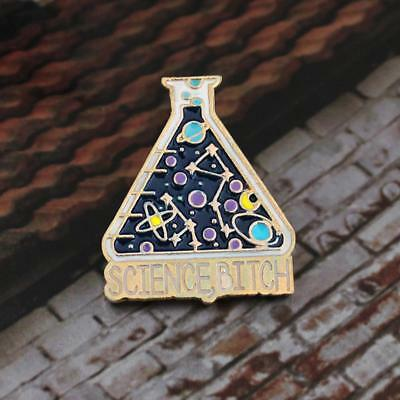 Colorful Golden Science Beaker Enamel Pins Lapel Pins Brooches Humor Jewelry HF