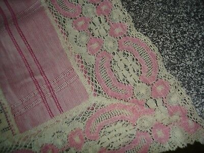Vintage Antique Runner Cutwork Floral  Lace Crochet Linen Pink and Cream