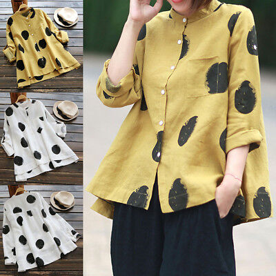 Women Plus Size Long Sleeve Pocket Casual Tops Stand Collar T-Shirt Loose Blouse