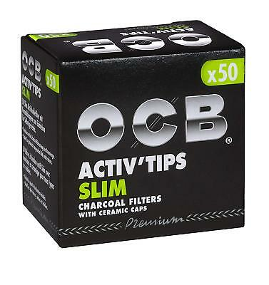 OCB Activ Tips Slim Aktivkohlefilter 7mm 50er Filtertips - Joint Tips -