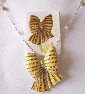 Sale The Victoria And Albert Museum,yellow Enamel Bow Brooch Necklace Rrp £185