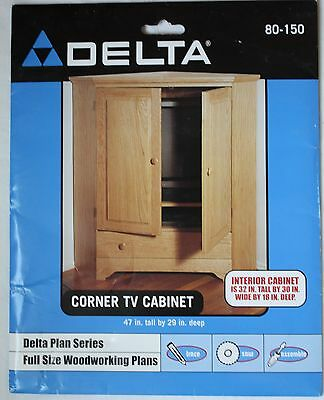 NEW Delta Full Size Woodworking Plans #80-150 Corner Cabinet