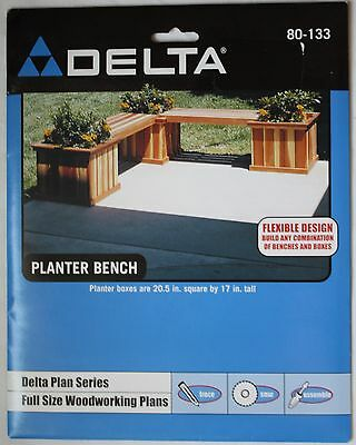 NEW Delta Full Size Woodworking Plans #80-133  Planter Bench