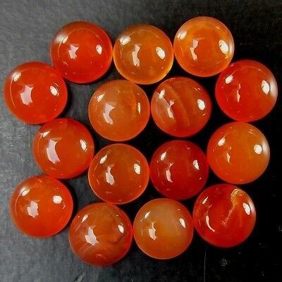 15 Pcs LOT OF 11.5-12.5mm ROUND CABOCHON LOW GRADE NATURAL EARTH MINED CARNELIAN