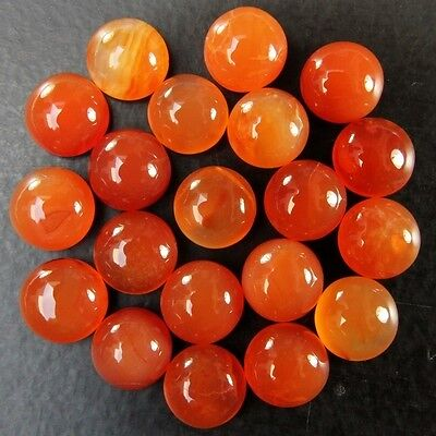 20 Pcs LOT OF 10.5-11.5mm ROUND CABOCHON LOW GRADE NATURAL EARTH MINED CARNELIAN