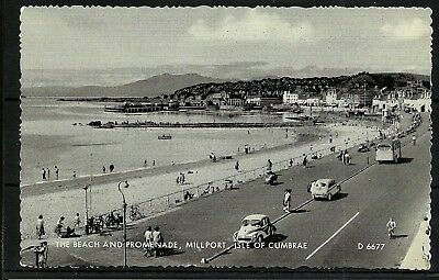 Postcard : Isle of Cumbrae Millport the Beach Promenade and old cars RP