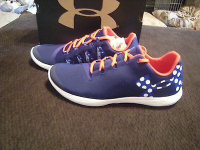 New Girls Blue, Red & White Under Armour Street Precision Low Tennis Shoes, 4