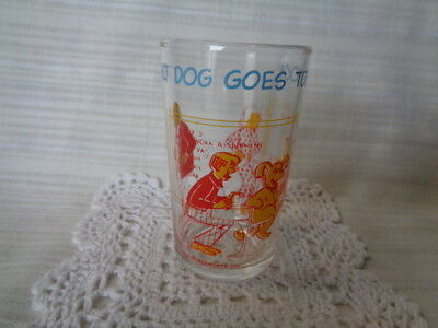 B-  Vintage Archie Collectible Drinking Jelly Glass~Hot Dog Goes to School~1971