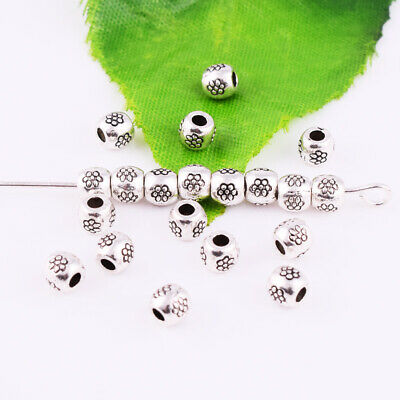 60/180pcs Tibetan Silver Round Charm Spacer Loose Beads Jewelry Findings 5x4mm