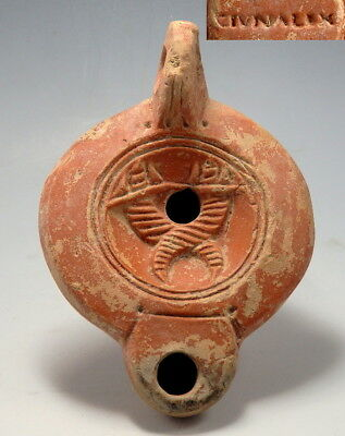 Roman Terracotta Oil Lamp Depicting Cornucopiae & Maker's Mark (L919)
