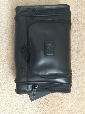 Tumi Hanging Travel Toiletry Kit Bag Leather New W Intials 92191DH