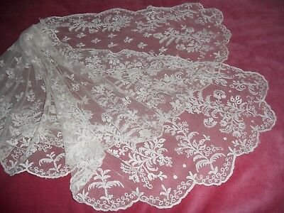 "Fabulous Antique Victorian ivory BRUSSELS LACE LADIES 64"" x 21"" SCARF/WRAP/SHAWL"