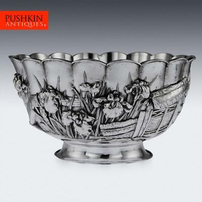 ANTIQUE 19thC JAPANESE MEIJI PERIOD SOLID SILVER FLORAL BOWL c.1880