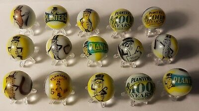 Planters Peanuts Glass Marbles 5/8 Size + Stands