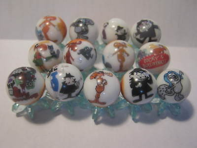 Rocky and Bullwinkle GLASS MARBLES 5/8 SIZE + stands