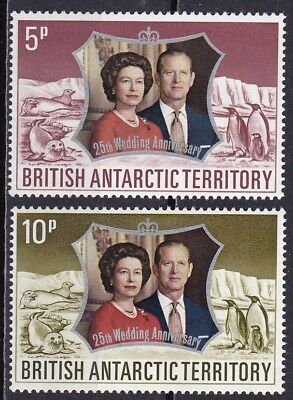 British Antarctic Territory #43-44 Mnh Silver Wedding Queen Elizabeth Ii