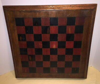Antique Primitive Folk Art Game Board Checker Chess Hand Painted