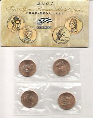 2007 First Spouse Bronze Medal Set : 4 Medals with Original Mint Packaging