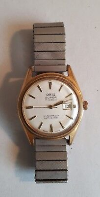 Vintage 1960s Mens Swiss Made Wristwatch ORIS SUPER 17 JEWELS. Not Working