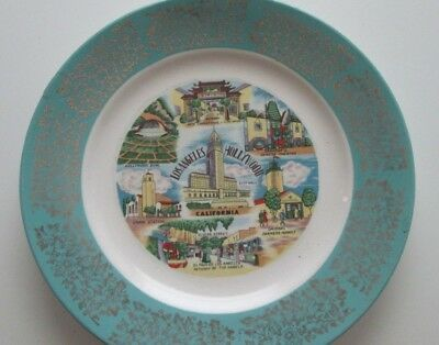 Vintage  State Plate Los Angeles Hollywood California Souvenir 1940-50s